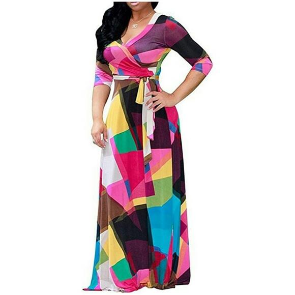 b43cae9d7ca Locryz Floral V Neck Maxi Dress Size 3XL